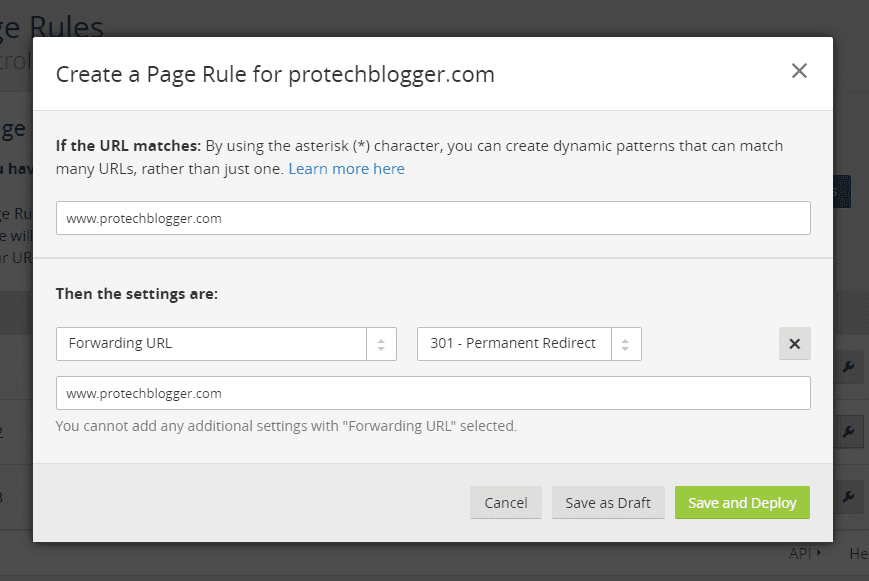 cloudflare Page rule 2